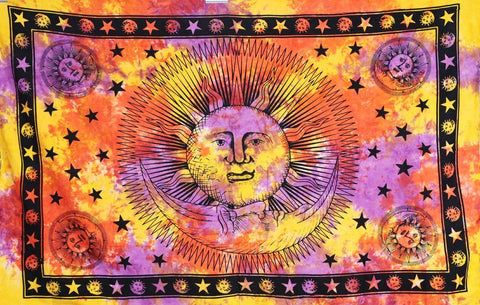 Sun Moon Celestial Orange Psychedelic Wall Bed Table Twin Tapestry - Boho Bohemian Decor