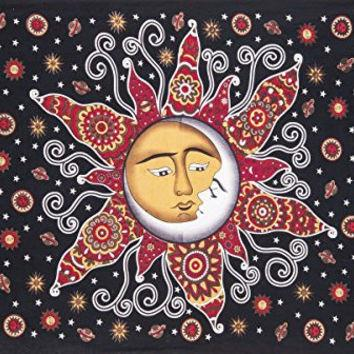 Sun Psychedelic Wall Tapestry Sun and Moon Tapestry-GoGetGlam