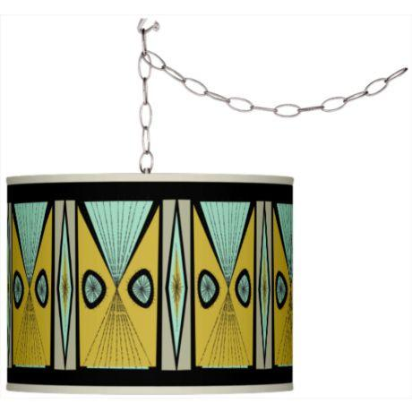 Swag Style Giclee Shade Plug-In Chandelier-GoGetGlam