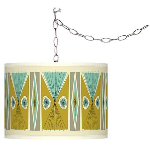 Swag Style Giclee Shade Plug-In Chandelier - GoGetGlam Boho Style