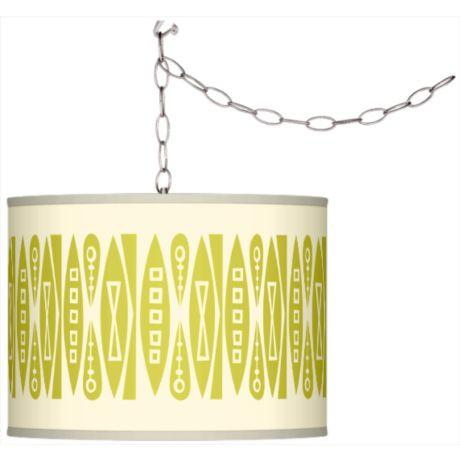 Swag Style Retro Giclee Shade Plug-In Chandelier-GoGetGlam