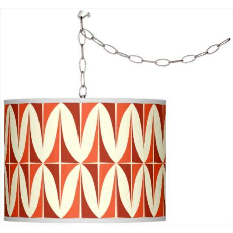 Swag Style Retro Giclee Shade Plug-In Pendant Chandelier-GoGetGlam