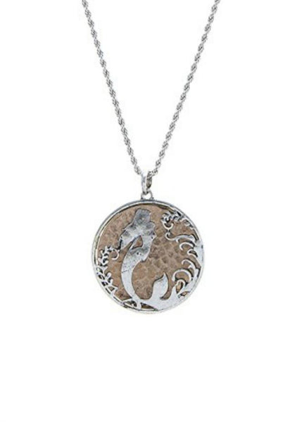 Swimming Mermaid Disc Necklace-GoGetGlam