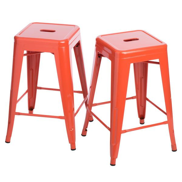 Tango in Tangerine 24 inch Gloss Bar Stools - Set of 2 - GoGetGlam Boho Style