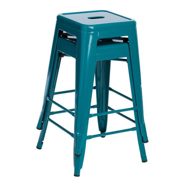 Tantalizing Teal 24 inch Gloss Bar Stools - Set of 2 - GoGetGlam Boho Style