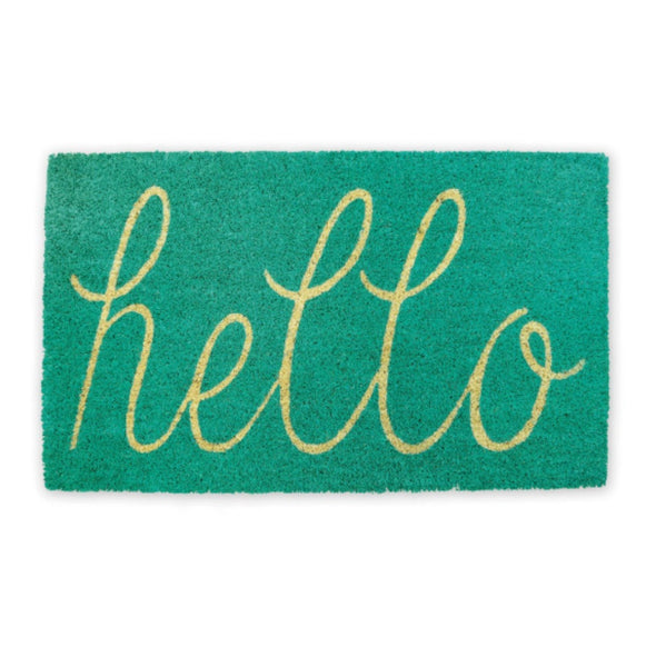 Teal HELLO Coir Style Doormat - GoGetGlam Boho Style