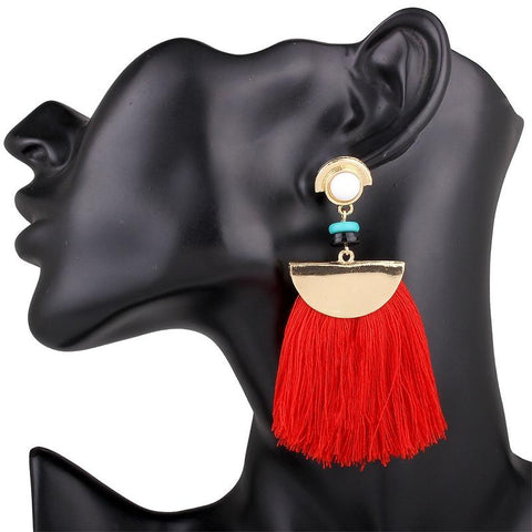 The Allegra Tassel Statement Earring-GoGetGlam