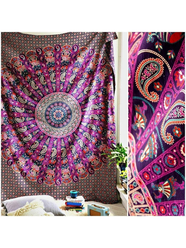 The Allianah Pink Purple Mandala Boho Bohemian Tapestry - GoGetGlam Boho Style