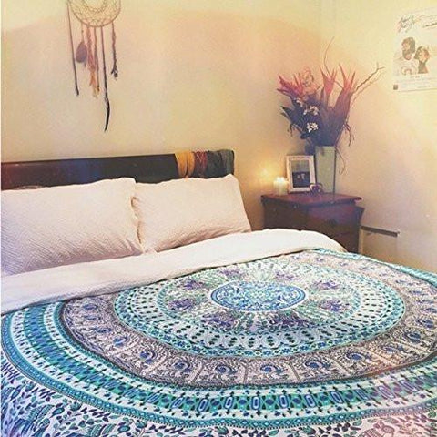 The Bella Peacock Elephant Mandala Tapestry-GoGetGlam