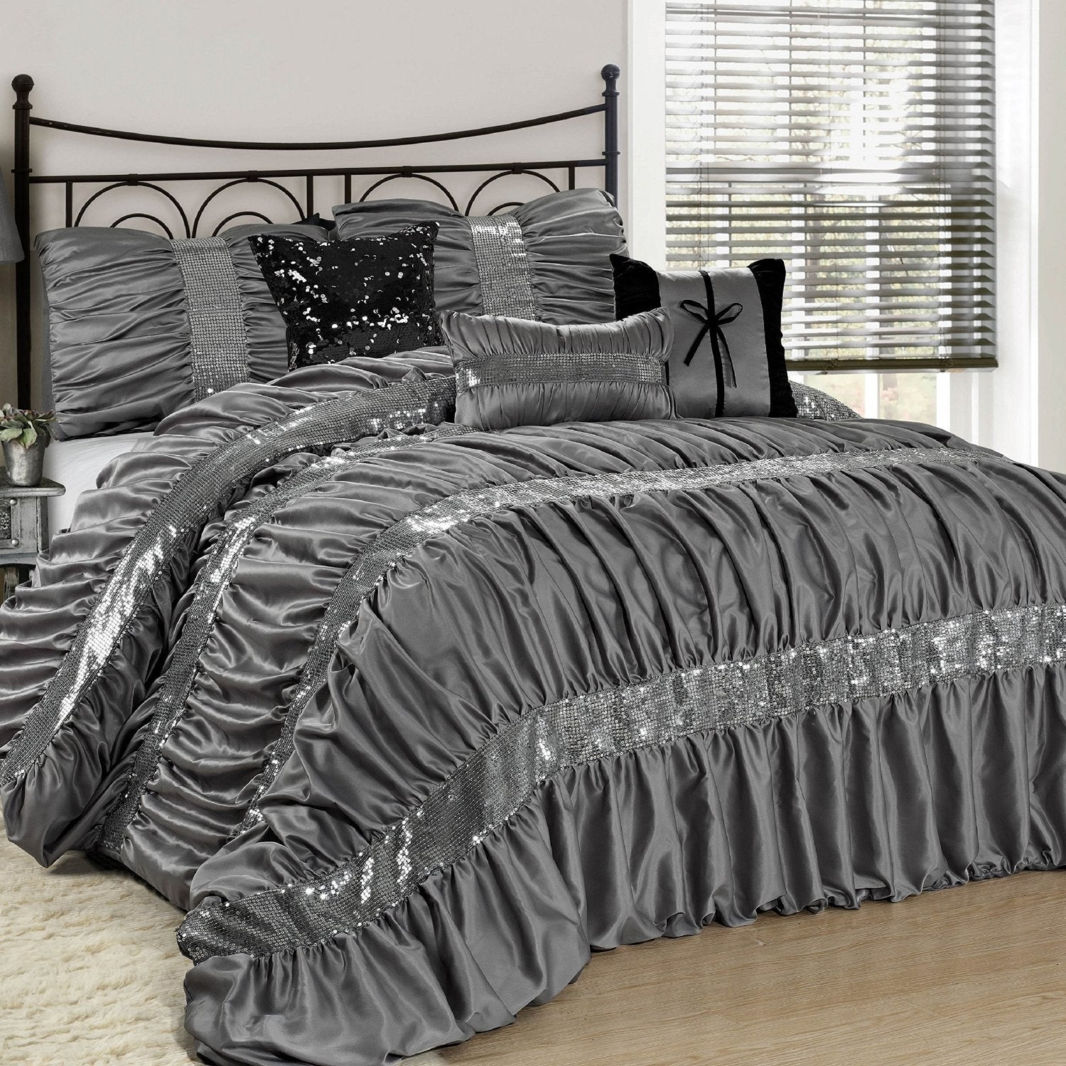 collections piece bedding gray tone scroll catalina com floral embroidered set comforter pattern