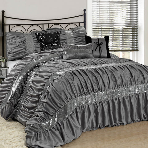 The Ciara Sequin Accent Ruched Gray 7PC Comforter Bedding Set-GoGetGlam