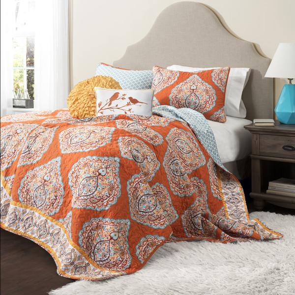 The Hannah Boho Bohemian Moroccan 5 PC Bed Quilt SET-GoGetGlam