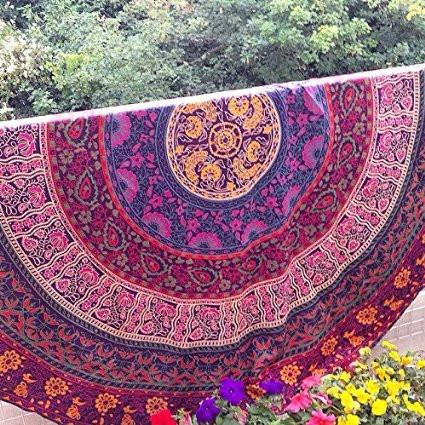 The Janie Round Boho Bohemian Mandala Yoga Wall Table Tapestry-GoGetGlam