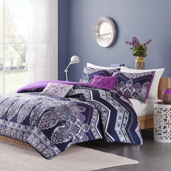 The Kelsie Bohemian Purple 5 PC Comforter SET-GoGetGlam
