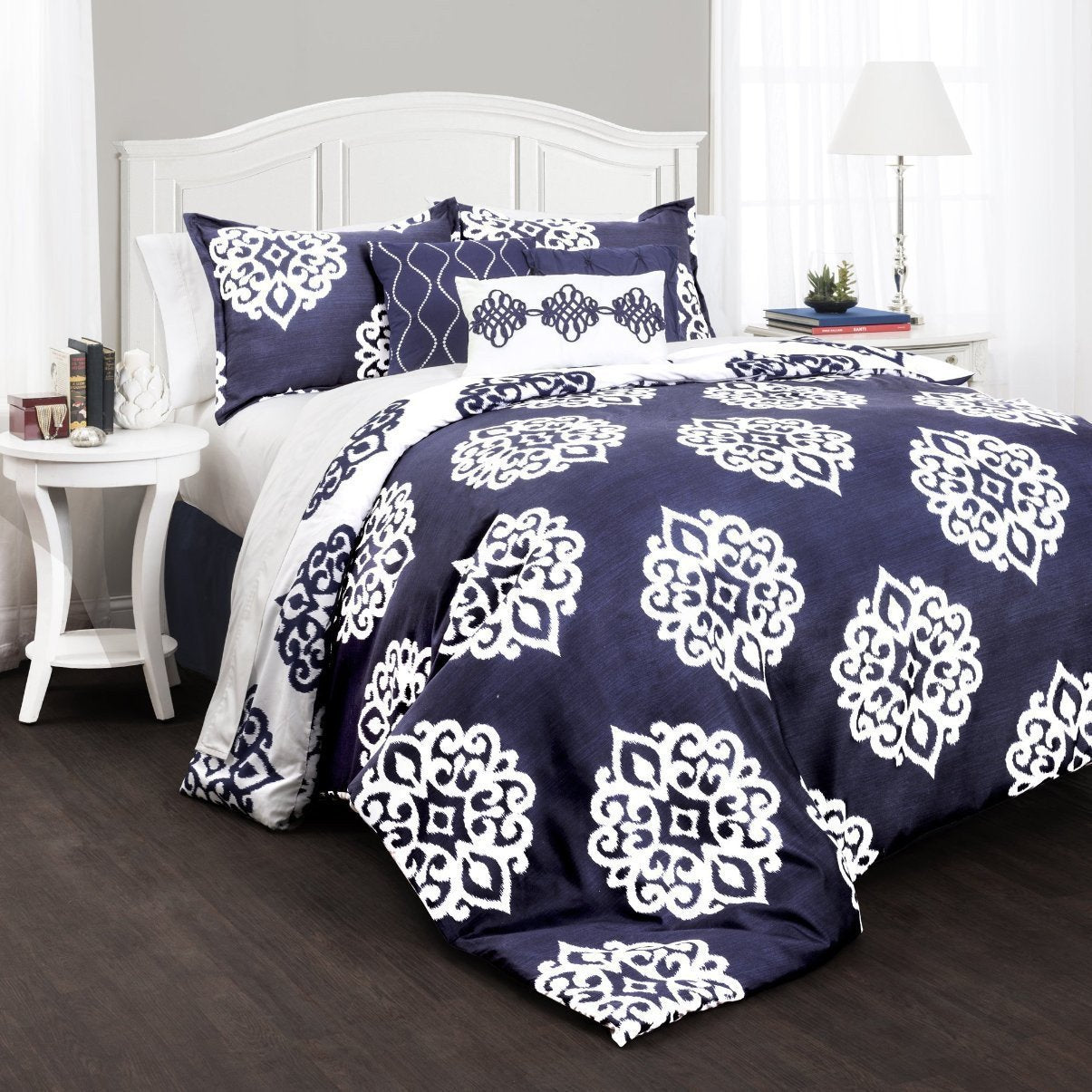 The Matilda Boho Bohemian Moroccan Damask Blue 7 Pc