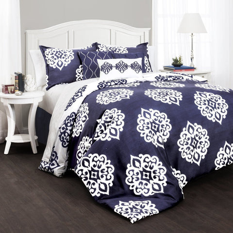 The Matilda Boho Bohemian Moroccan Damask Blue 7 PC Comforter Bedding Set-GoGetGlam