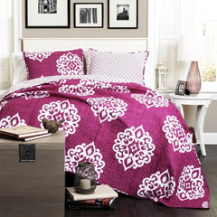 The Matilda Boho Bohemian Moroccan Pink 3 PC Quilt Bedding Set-GoGetGlam