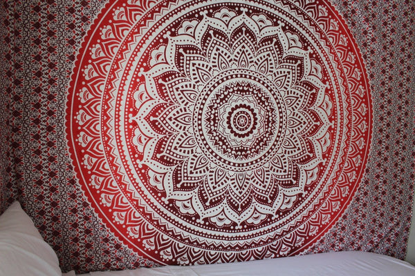 The Rhiannon Red Burgundy Ombre Boho Tapestry-GoGetGlam