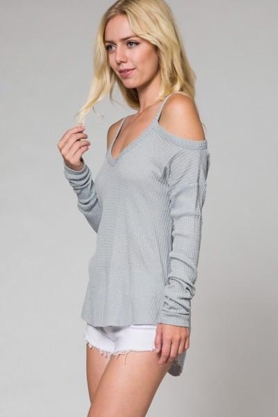 Thermal Waffle Knit Cold Shoulder Top-GoGetGlam