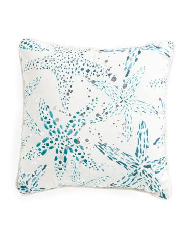 Thro by Marlo Lorenz Starfish Foil Throw Pillow-GoGetGlam