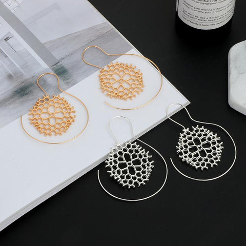 Tia Tribal Honeycomb Wire Earrings-GoGetGlam