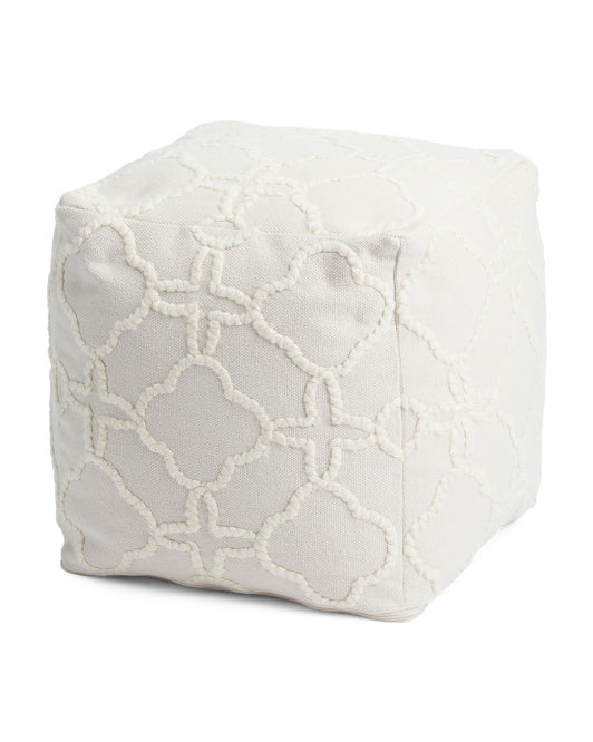 White Pouf Ottoman Unique White Bohemian Scroll Pouf Ottoman GoGetGlam