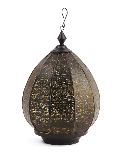 India Artisan Boho Perforated Hanging Lantern - Boho Bohemian Decor