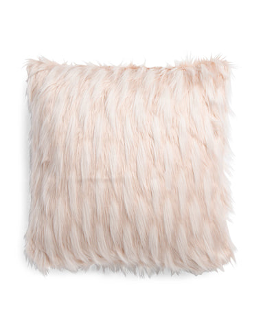DESIGNER Faux Fur Blush Throw Pillow-GoGetGlam