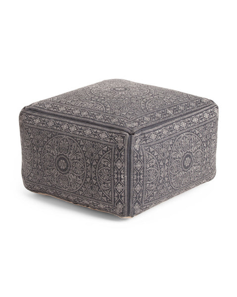 Made in India Indigo Blue Pattern Pouf Ottoman-GoGetGlam