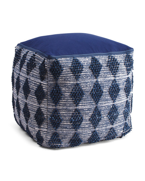 Made in India Indigo Blue Textured Pouf Ottoman-GoGetGlam