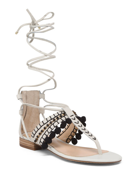 VINCE CAMUTO Pom-Pom Wide Width Leather Sandals