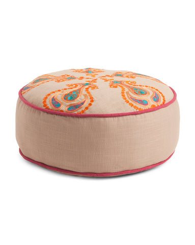 Made in India Embroidered Round Pouf Floor Pillow-GoGetGlam