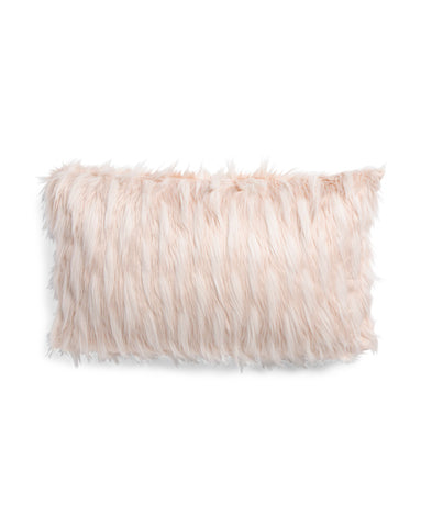DESIGNER Faux Fur Oversized Blush Throw Pillow-GoGetGlam