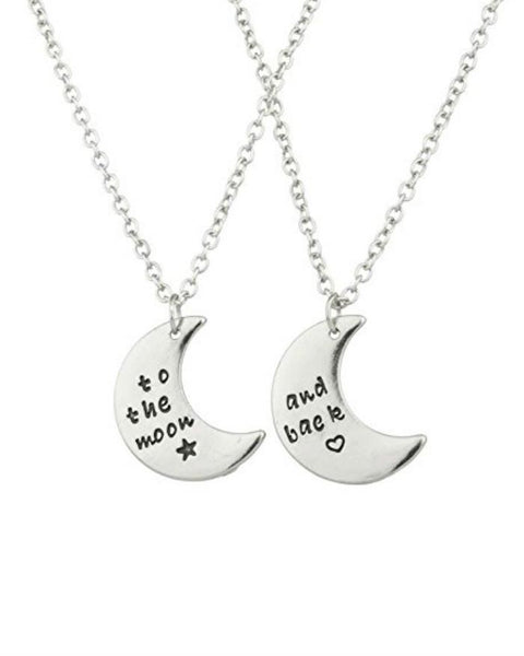 To The Moon & Back Best Friends BFF 2 PC Chain Charm Necklace SET - GoGetGlam Boho Style