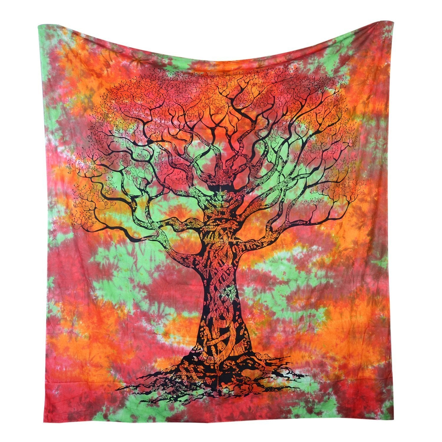Tree of Fire And Life Boho India Bohemian Queen Tapestry-GoGetGlam