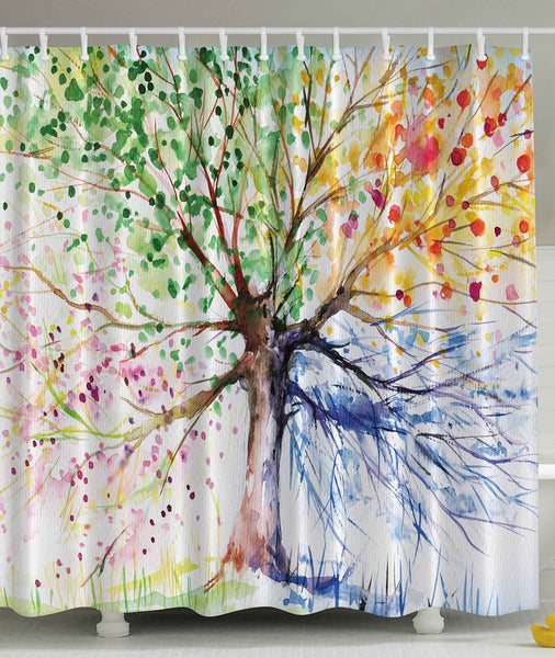 Tree of Four Seasons Shower Curtain - GoGetGlam Boho Style