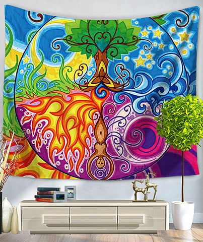 Tree of Life Psychedelic Seasons Bed Wall Tapestry-GoGetGlam