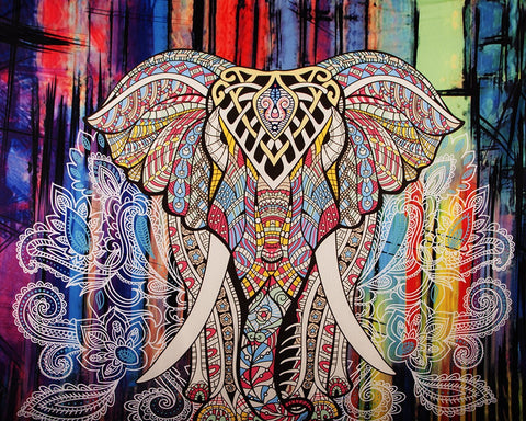 Tribal Jewel Color Boho Elephant Wall Fabric Tapestry-GoGetGlam