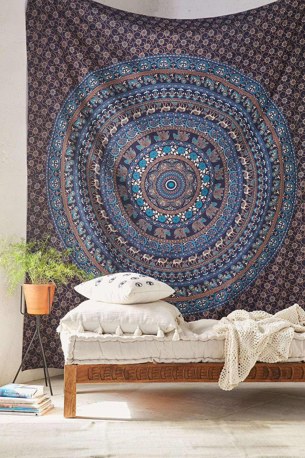 hippie throw mandala medallion wall decor product meddallion meddalion blue tapestry boho hanging