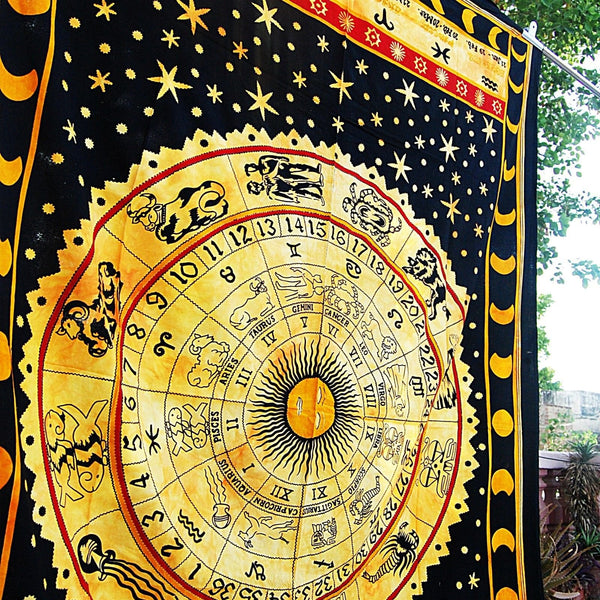 Universe Horoscope Zodiac Sign Celestial Indian Tapestry-GoGetGlam