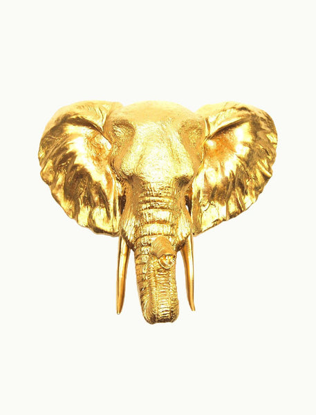 Wall Mount Elephant Head - Gold - Boho Bohemian Decor