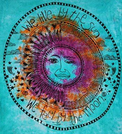 We Live By The Sun Feel By The Moon Blue Tie Dye Tapestry - Boho Bohemian Decor
