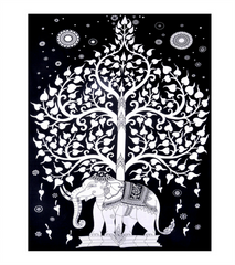 White Tree of Life Elephant Wall Tapestry-GoGetGlam