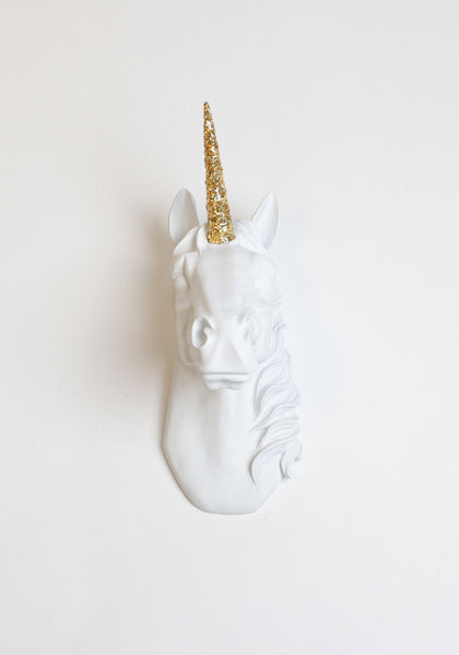 White Unicorn Head with Gold Glitter - Boho Bohemian Decor