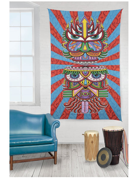 Wise Old Owl Boho Bohemian 3D Vibrant Color Wall Bed Tapestry - GoGetGlam Boho Style