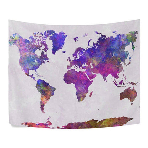 World Map Purple Tapestry Boho Wall Hanging-GoGetGlam