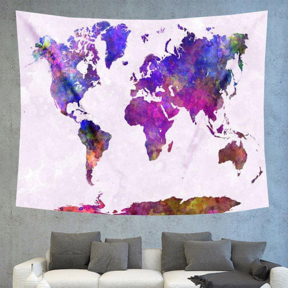 World map purple tapestry boho wall hanging gumiabroncs Images