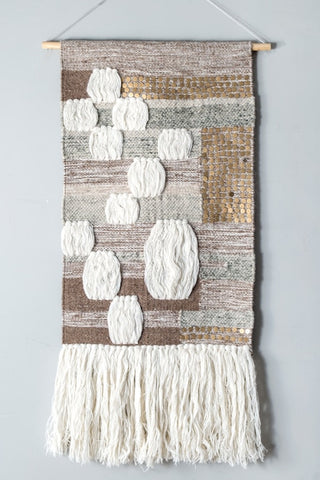 Jujia Wool Sequin Accent Boho Wall Hanging - GoGetGlam Boho Style
