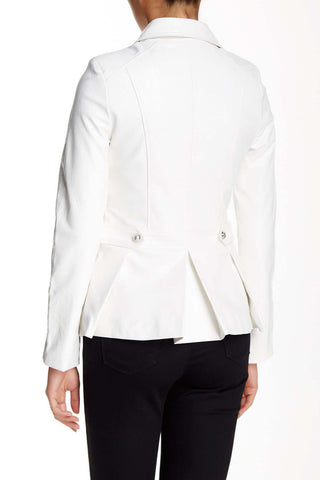 White Vegan Leather Motorcycle Jacket-GoGetGlam