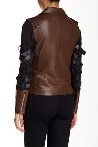 Cadence Ladder Sleeve Vegan Leather Biker Jacket-GoGetGlam